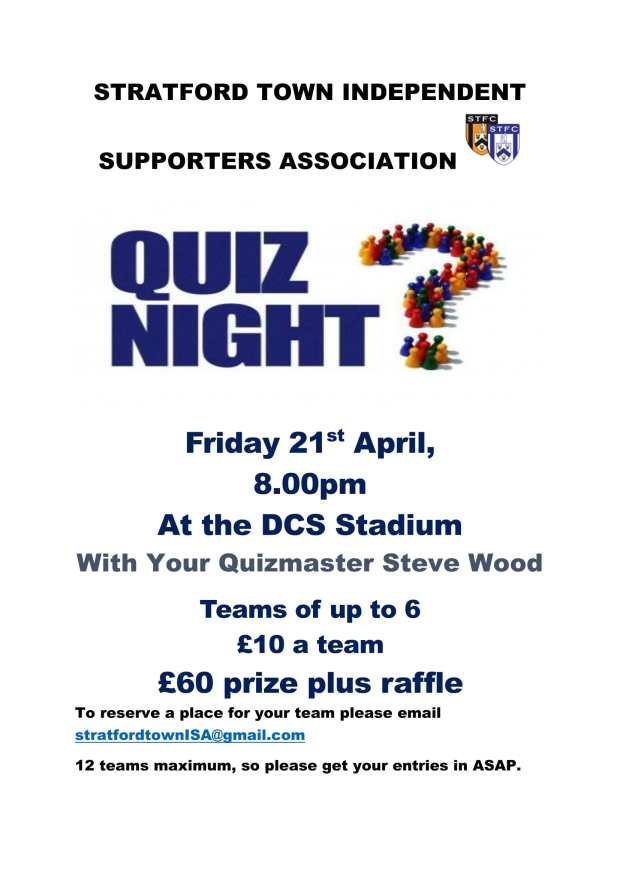 STRATFORD TOWN INDEPENDENT SUPPORTERS ASSOCIATION quiz night2-1